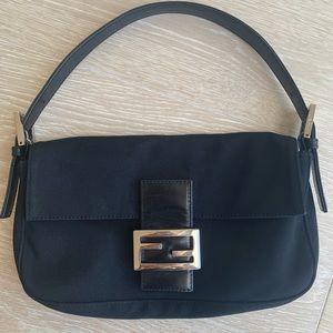 Fendi baguette shoulder bag black nylon leather